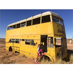 Yellow Bus at the abandoned Betoota Hotel