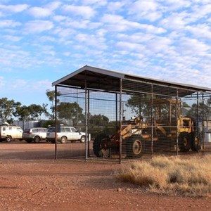Len Beadell's famous grader at the Giles Met. Station