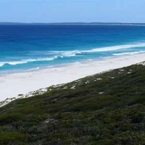 Grand sweep of Trigelow Beach - spot the whales