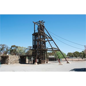Pulley structure to wind drum from 1,700ft. Broken Hill.