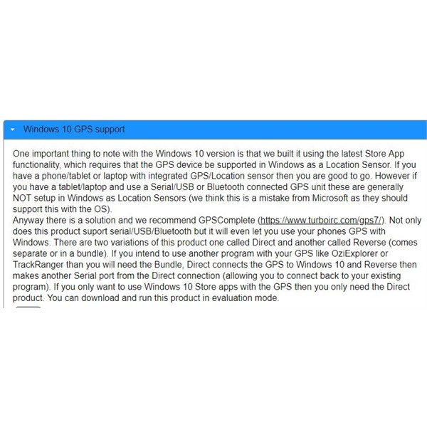Excerpt from ExplorOz Traveller page relating to W10 GPS support