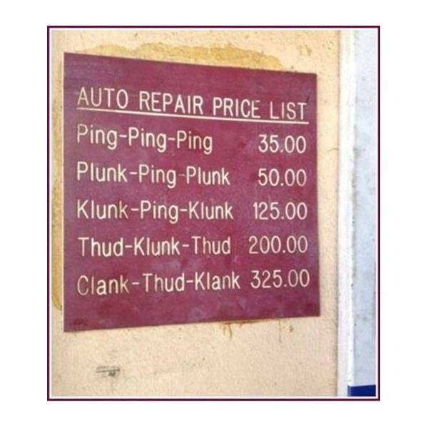 Simplified Auto Repair price list