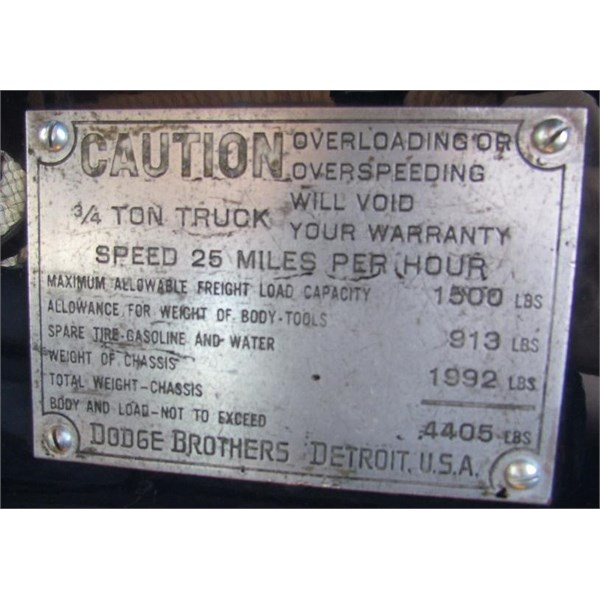 1923 Dodge caution plate