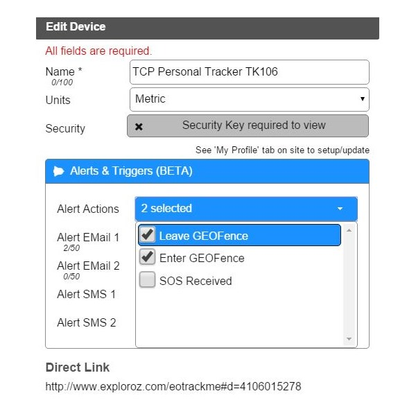 EOTrackMe Device - Alerts & Triggers