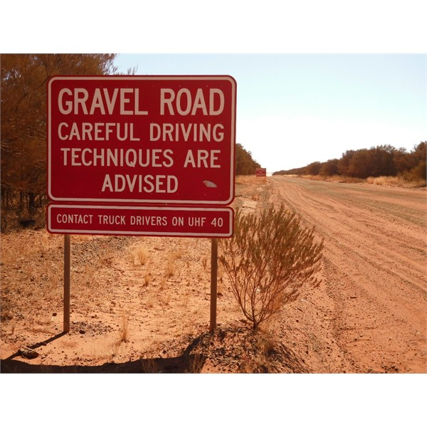 Gravel Road sign on Tanami
