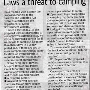 Letter to Kalgoorlie Miner Re new camping laws