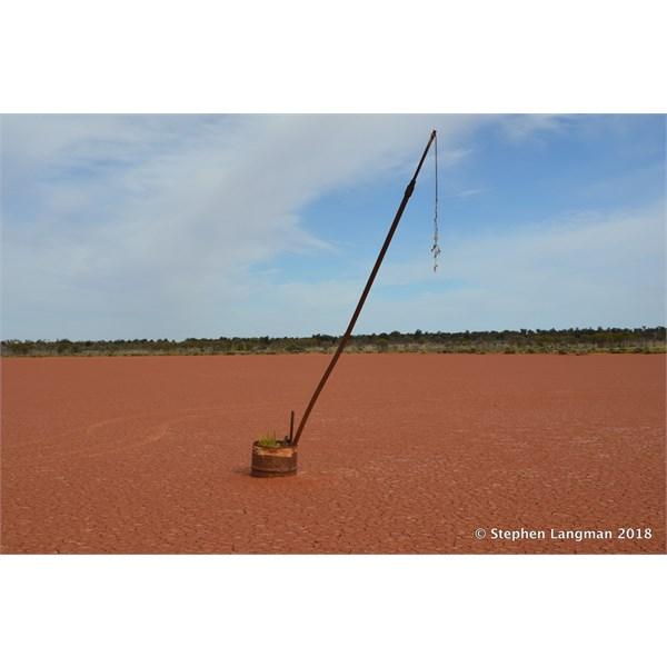 Remains of the original Wind Sock pole on Dingo Claypan