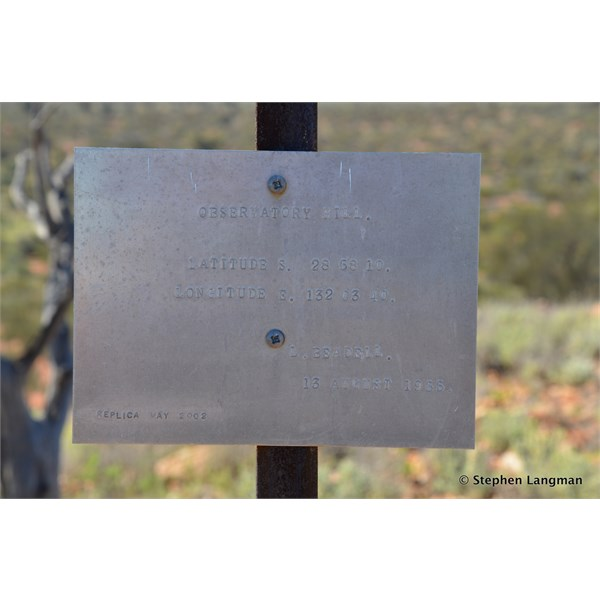 """""""Observatory Hill"""" plaque from Len Beadell, not Camera Site C"""