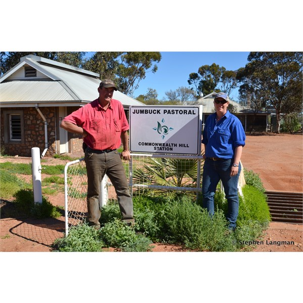 My friends, Simon and Katie at Commonwealth Hill Station - they are now on a station east of Burra