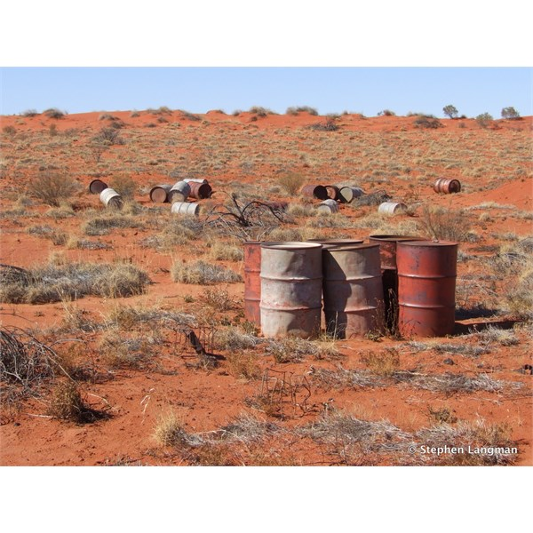 Extremely remote Simpson Desert old fuel dump