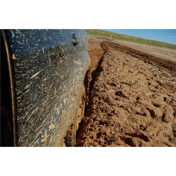 Look how deep the mud is and how far back to solid ground.....and travelling solo
