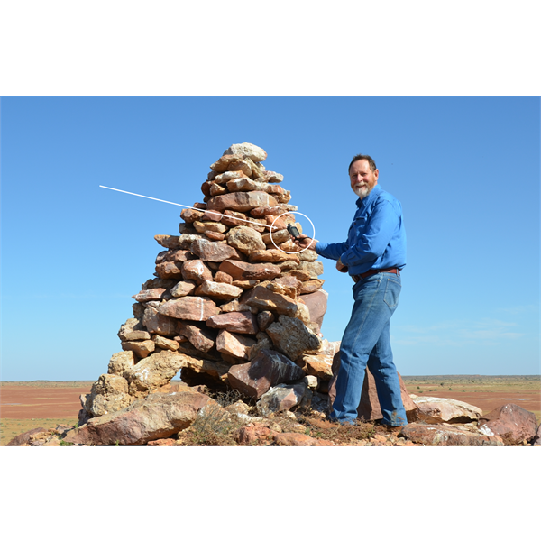 With this feature more that 2 kilometres away from the car, I was able to record this cairn with the handheld GPS