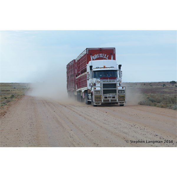 You will encounter Road Trains on both Tracks - this was on the Birdsville Track