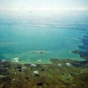 Lake Eyre full in 1974 from a Fokker Friendship