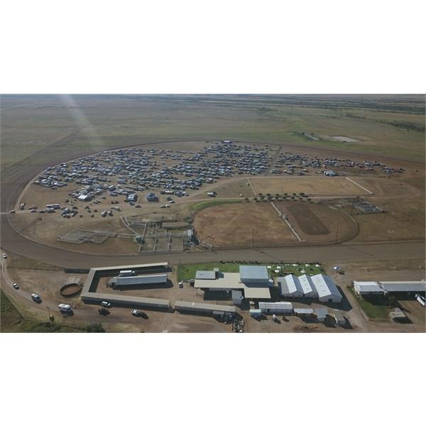 Caravan/camper City set up inside Winton Racecourse.