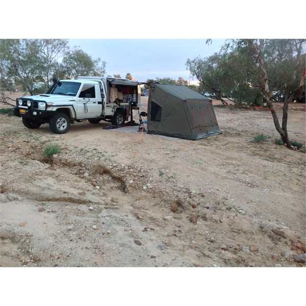Oztent in use, Birdsville van park.