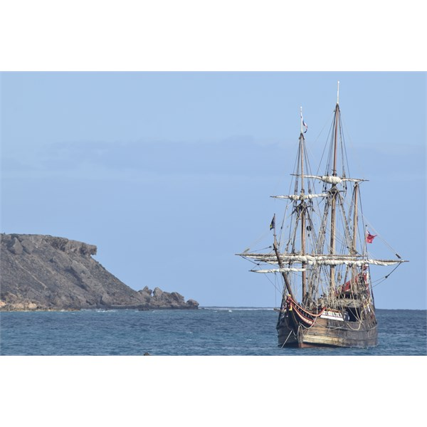 The Duyfken replica on the 400th Anniversay of Hartog's landing with Dirk's Island in the background