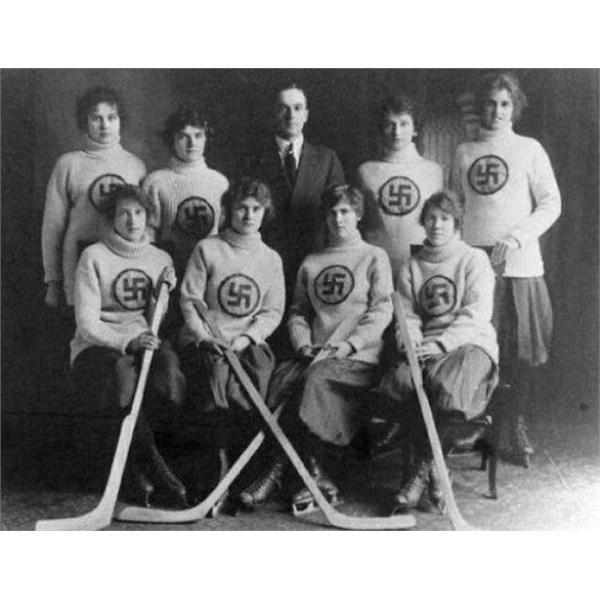 The Edmonton Swastikas, a Canadian girls' hockey team. c. 1916