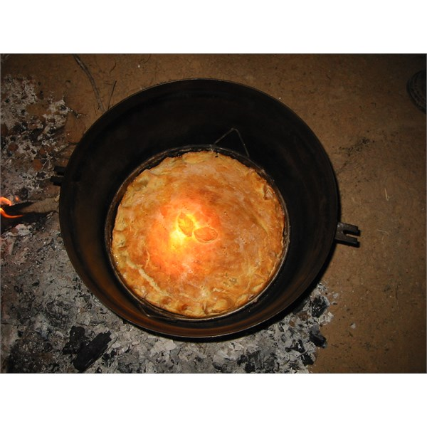 Someone else's apple pie in a Gidgee Fired camp oven 2004 Simpson Desert