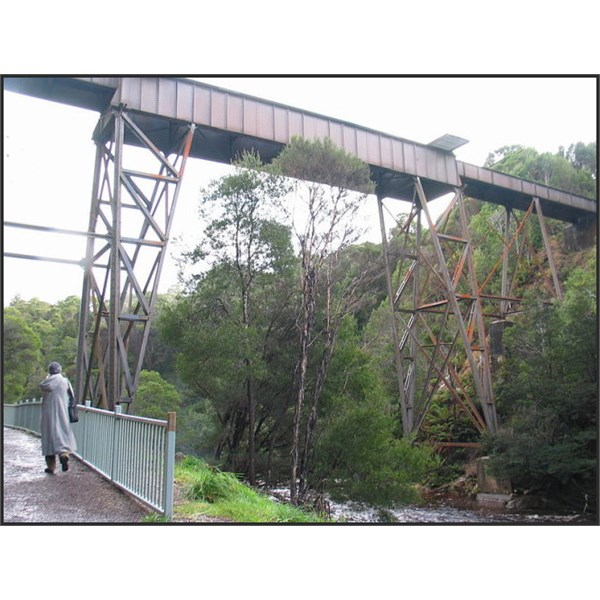 This is the Stitt River in Rosebery town. Above it is the remains of the old Emu Bay Railway bridge