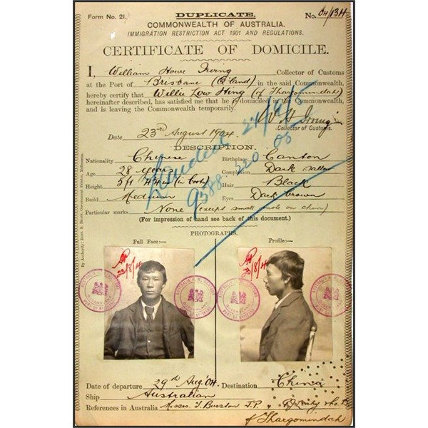 Willie Low Hing Certificate of Domicile