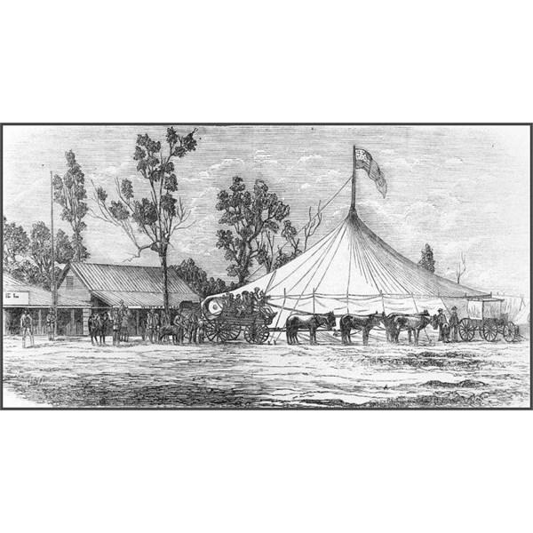 Drawing of Ashton's Circus in Clermont, 1873