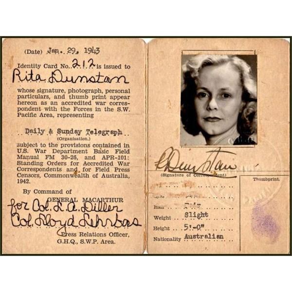 Australian War correspondent Rita Dunstans accreditation