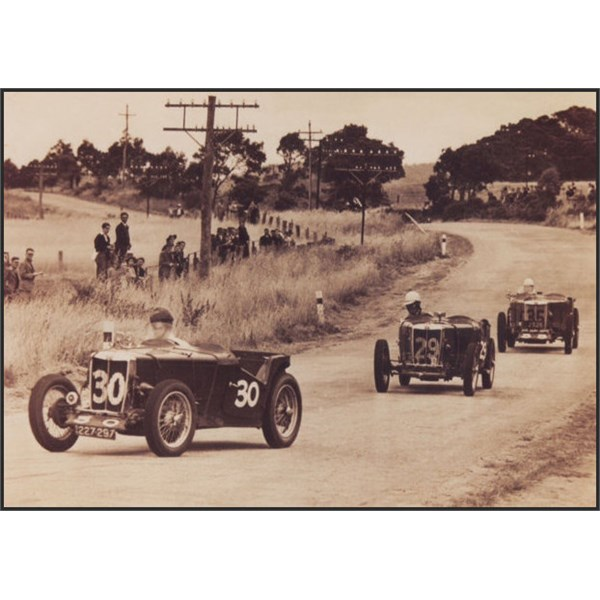 AGP Nuriootpa 1950. 3 MG TC Spls#30 David Harvey (4th), #29 Vin Maloney (12th), and # 35 Don Cant (8th). MGs of all kinds