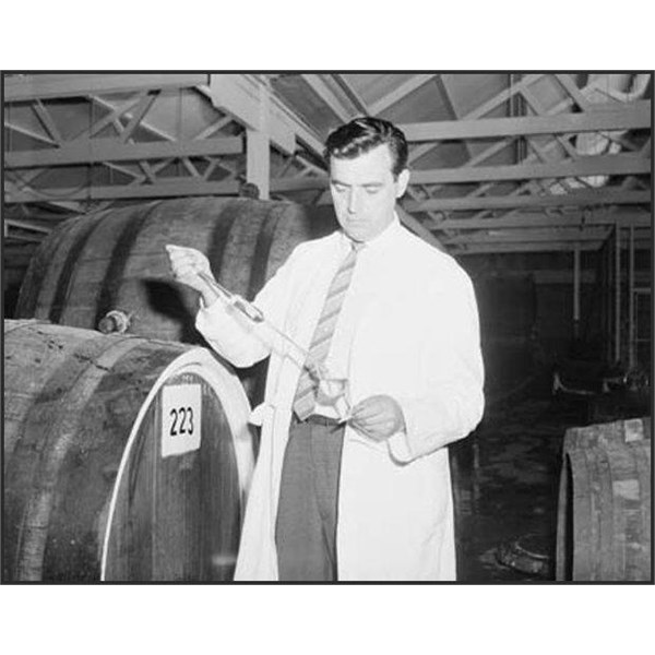 George Kolarovich, from Yugoslavia, at the SA Grape Growers Co-op at Nuriootpa, uses a hydrometer to test the sugar content in the grape juice