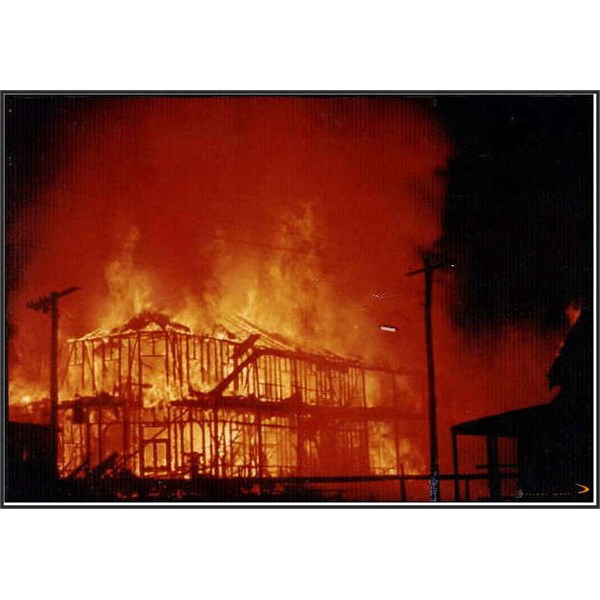 The Grand Hotel on fire