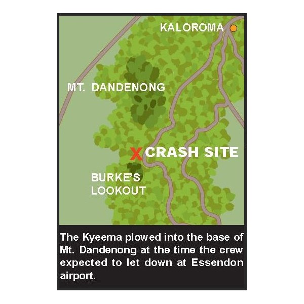 Sketch map showing location of crash