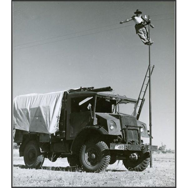 Linesman Albert Shorter at work on telegraph line Halls Creek to Wyndham 1948