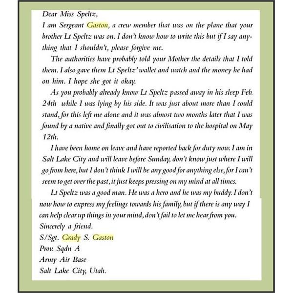 Grady Gaston Letter to Arthur Speltz' Sister
