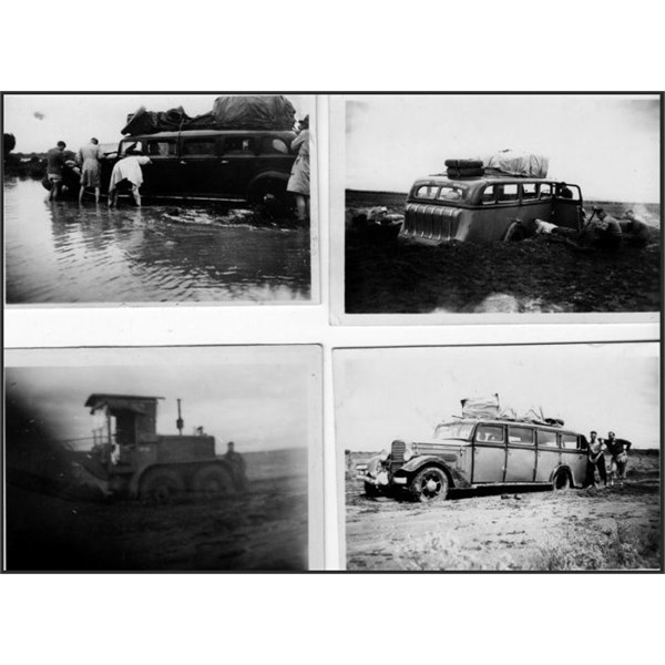 The only time the bus got bogged, 1946