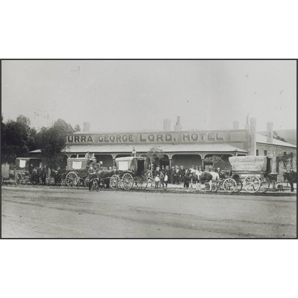 Cabs returning passengers to Burra Hotel after a football match 1906