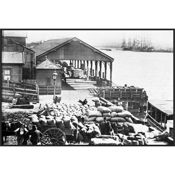 Hunter River Steamship Company wharf, Newcastle Harbour NSW, 1900