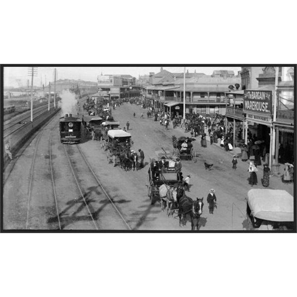 A steam tram on Scott Street, Newcastle East, turn of last century