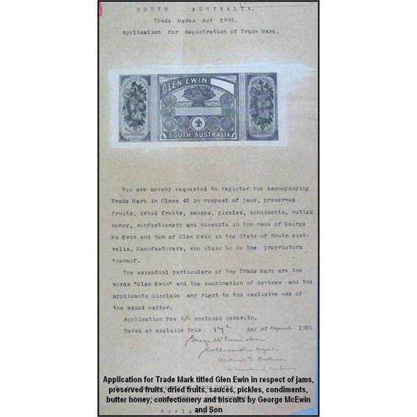 Application for Trade Mark titled Glen Ewin in respect of jams 1892