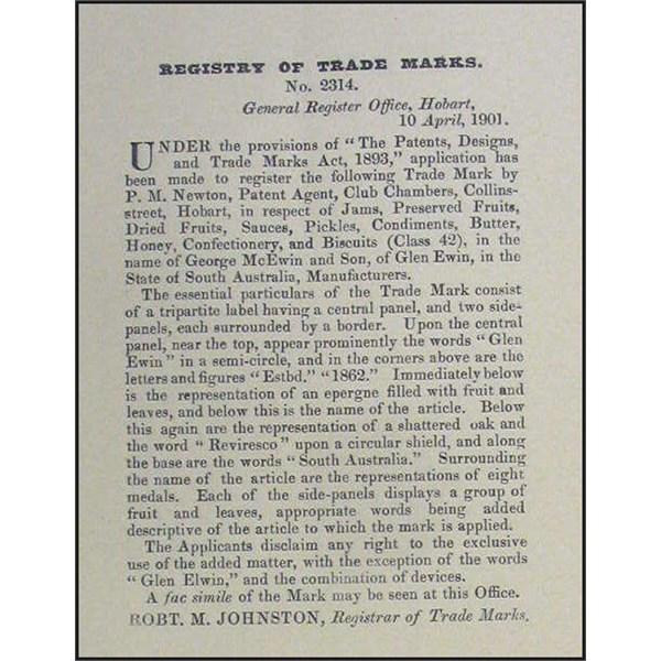 Application of Trade Mark titled Glen Ewin 1901
