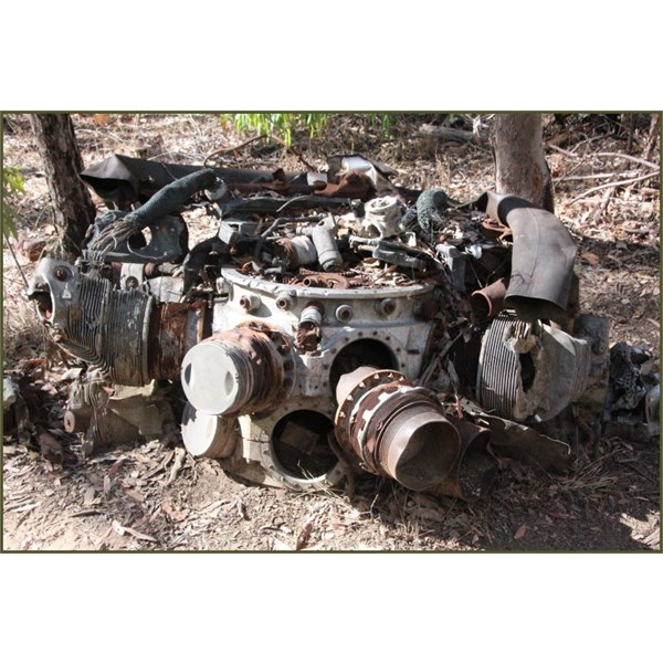 The remains of one of 4 14-cylinder Pratt and Whitney R-1839-43 twin wasp radial engines,