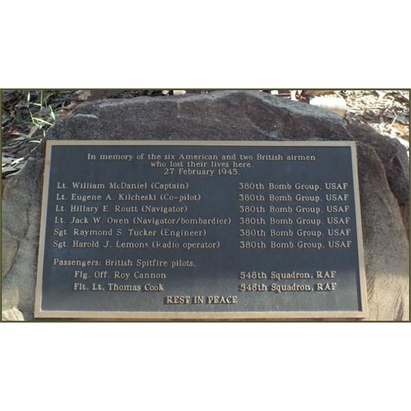 Plaque at the crash site