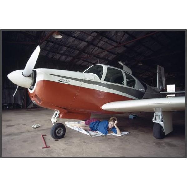 Robin Miller and her Mooney M.20E Super 21, registered VH-REM