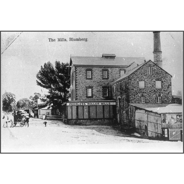 View of the Randell Mill and Peerless Mill buildings, Blumberg, c.1900