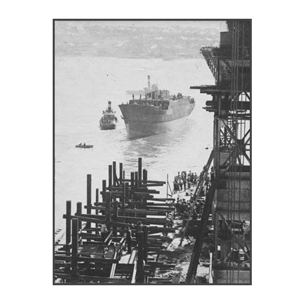 Cape Leeuwin - ship no 101 external views of construction [Completed ship leaving dock after launch, 10 December 1924,