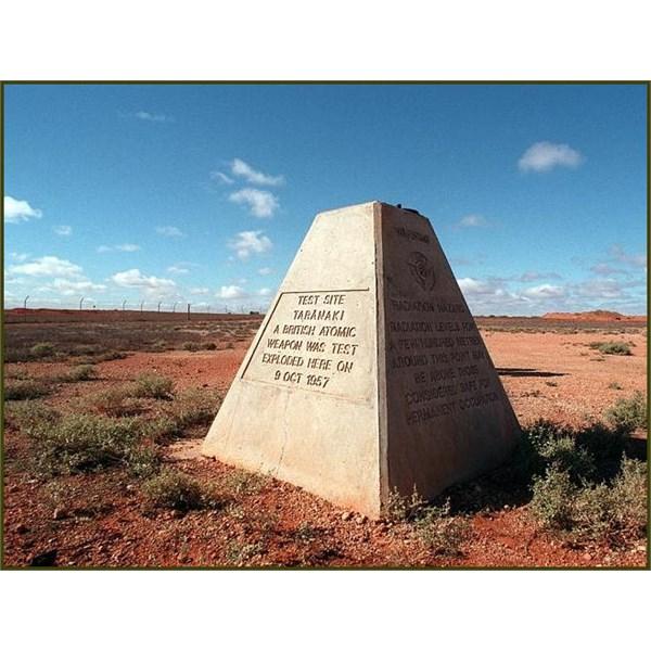 A monument of the Taranaki nuclear test site at Maralinga