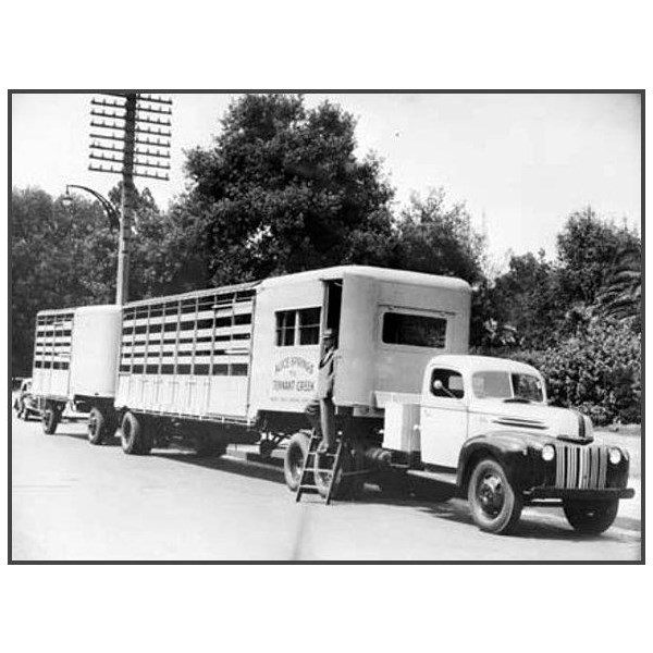 A road train owned and operated by Philip Ward, from Banka Banka Cattle Station 1947