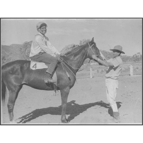 Tom Cleary on winning horse Peter at Harts Range Races circa 1960