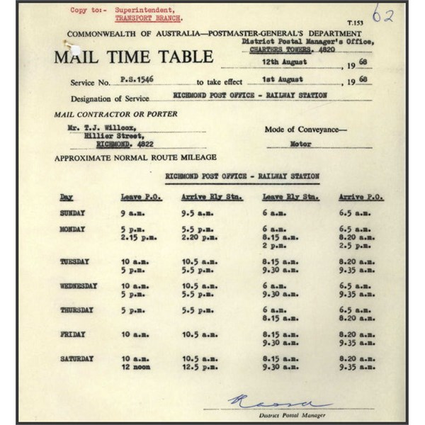 Mail Timetable 1968