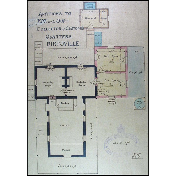 Birdsville Customs - Additions to Post Master and Sub Collector of Customs Residence Quarters - Floor Plan 1896