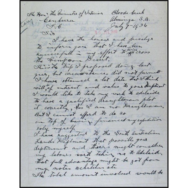 E.A.COLSON - Crossing from Abminga to Birdsville Letter 1936 Part 1